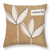 Namaste White Flowers Throw Pillow