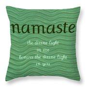 Namaste With Blue Waves Throw Pillow