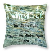 Namaste With Crystal Waters Throw Pillow