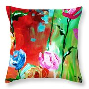 Nancy's Flowers Throw Pillow