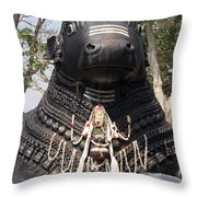 Nandi Statue Throw Pillow