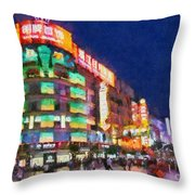 Nanjing Road In Shanghai Throw Pillow