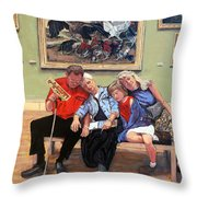 Nap Time At The Louvre Throw Pillow