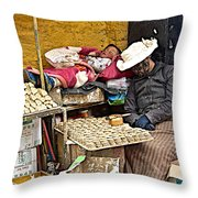 Nap Time For Child And Street Shopkeeper In Lhasa-tibet   Throw Pillow