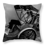 Nap Time For Vietnamese Rickshaw Driver Throw Pillow