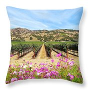 Napa Valley Vineyard With Cosmos Throw Pillow