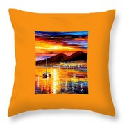Naples-sunset Above Vesuvius - Palette Knife Oil Painting On Canvas By Leonid Afremov Throw Pillow
