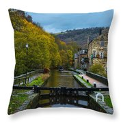Narrow Boat Heading Up The Canal In The Fall Throw Pillow