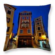 Narrow Streets And Buildings - Rovinj Croatia Throw Pillow