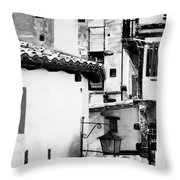 Narrow Streets Of Albarracin  Black And White Throw Pillow