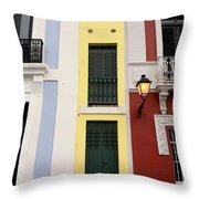 Narrow Yellow Building In Old San Juan Throw Pillow