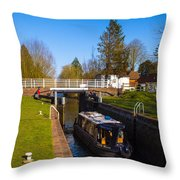 Narrowboat In Lock Throw Pillow