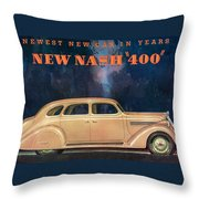 Nash 400 - Vintage Car Poster Throw Pillow