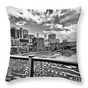 Nashville From The Shelby Bridge Throw Pillow