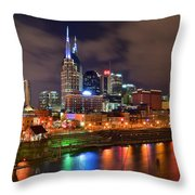 Nashville Is A Colorful Town Throw Pillow