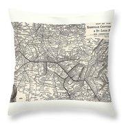 Nashville Railway Map Vintage Throw Pillow