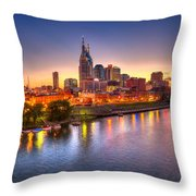 Nashville Skyline Throw Pillow by Brett Engle