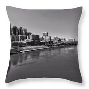 Nashville Skyline In Black And White At Day Throw Pillow