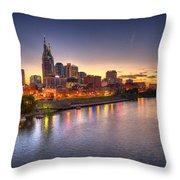 Nashville Skyline Panorama Throw Pillow