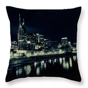 Nashville Skyline Reflected At Night Throw Pillow