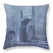 Nashville Skyline Sketch Throw Pillow