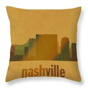 Nashville Tennessee Skyline Watercolor On Parchment Throw Pillow