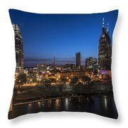 Nashville Tennessee With Pedestrian Bridge  Throw Pillow by John McGraw