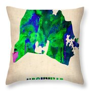 Nashville Watercolor Map Throw Pillow by Naxart Studio