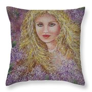 Natalie In Lilacs Throw Pillow
