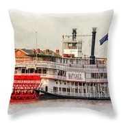 Natchez Sternwheeler Paint Throw Pillow