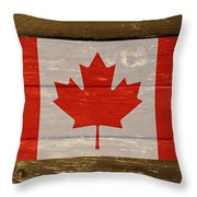 Canada National Flag On Wood Throw Pillow