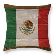 Mexico National Flag On Wood Throw Pillow