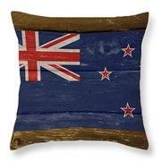 New Zealand National Flag On Wood Throw Pillow