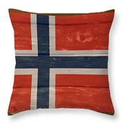 Norway National Flag On Wood Throw Pillow