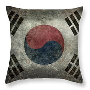 National Flag Of South Korea Desaturated Vintage Version Throw Pillow