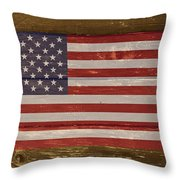 United States Of America National Flag On Wood Throw Pillow