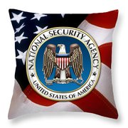 National Security Agency - N S A Emblem Emblem Over American Flag Throw Pillow