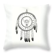 Native American Ceremonial Shield Number 2 Black And White Throw Pillow