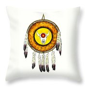 Native American Ceremonial Shield Number 2 Throw Pillow