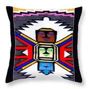Native American Grey White Quilt Detail Throw Pillow