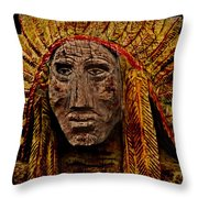 Native American In Wood 1886 Throw Pillow