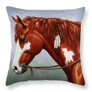 Native American Pinto Horse Throw Pillow