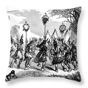 Native American Scalp Dance Throw Pillow