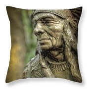 Native American Statue At Niagara Falls State Park Throw Pillow