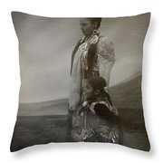 Native American Two Woman Bw Throw Pillow