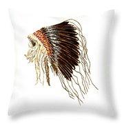 Native American War Bonnet - Plains Indians Throw Pillow