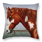 Native American War Horse Throw Pillow by Crista Forest