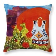 Native American Wedding Vase And Cactus Throw Pillow