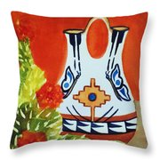 Native American Wedding Vase And Cactus-square Format Throw Pillow