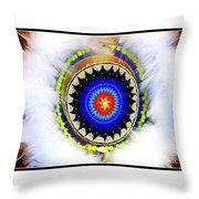 Native American White Fur Headdress Throw Pillow
